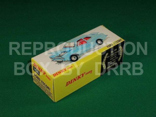 Dinky #168 Ford Escort - Reproduction Box ( Both the light Blue and metallic Red versions of this model were originally supplied in the same box.  )
